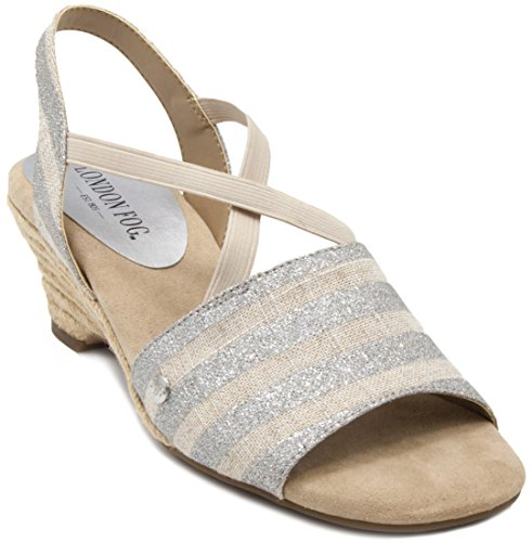 Stripe Espadrille Sandal (London Fog Womens Kirby Open Toe Espadrille Wedge Sandals Silver Stripe 6.5 M US)
