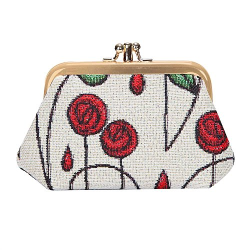 (Charles Rennie Mackintosh Rose Art Nouveau Coin Purse for Women/Clasp Change Purse for Women from Signare Tapestry/FRMP-RMSP)
