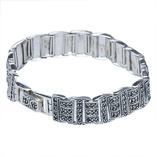 Round Marcasite Set - Vintage Style Ladies Marcasite Beaded Sterling Silver 925 Tennis Link Bracelet