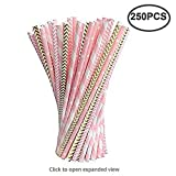 Paper Straws Bulk,Party Decoration Gold/Pink Striped Drinking Straws for Birthday, Wedding, Christmas, Celebration