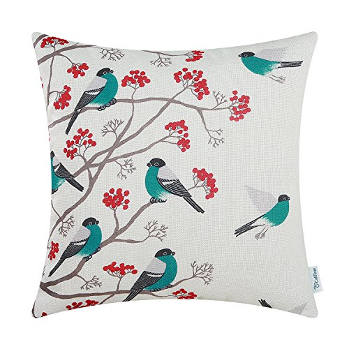 CaliTime Canvas Throw Pillow Cover Case for Couch Sofa Home Decoration Chickadees Birds with Red Floral Tree Branches 18 X 18 inches Teal Birds (Aqua Pillows And Red)