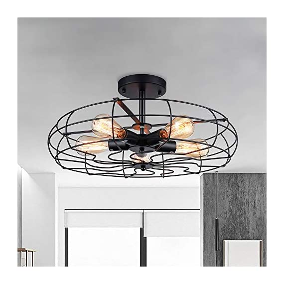 Semi Flush Mount Ceiling Light - BAYCHEER Vintage Pendant lights Industrial Chandelier Black Metal Cage Hanging Fixture… - NOTE: The goods will be delivered from amazon warehouse within 2-3 days!!! This Semi Flush Mount Ceiling Lights Can be used in Indoor Lighting, Hallway, Restaurant, Warehouse, Barn, Living Room and so on, if you want to install on a slop ceiling, it can be uesd a converter to achieve. Cage Height: 4.33 inch (11cm), Cage Width: 21.65 inch (55 cm), Ceiling Plate Width: 5.91 inch (15 cm). If you need the other size plate (10 cm/3.94 inch or 12 cm/4.72 inch), please contact us. Rod Length: 4.13 inch (10.5 cm), Ceiling Plate height: 0.98 inch (2.5 cm). Pipe diameter: 1.57 inch (4 cm). Packet Size: 22.4 x 22.4 x 5.12 inches (57 x 57 x 13 cm). Bulb types available include: Edison Bulb, LED, CFL or Incandescent. Bulb Base is E26 or E27(We can product 110v or 220v.). Recommended maximum per bulb power: 60w. - kitchen-dining-room-decor, kitchen-dining-room, chandeliers-lighting - 51dArd9l2kL. SS570  -
