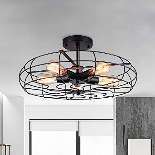 Semi Flush Mount Ceiling Light - BAYCHEER Vintage Pendant lights Industrial Chandelier Black Metal Cage Hanging Fixture with 5 E26 Bulb Base for Hallway,Restaurant,Warehouse,Barn,Living Room,UL Listed
