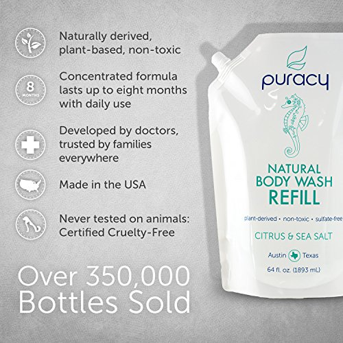 Puracy Natural Body Wash Refill, Sulfate-Free Shower Gel Daily Cleanser, Citrus & Sea Salt, 64 Ounce by Puracy (Image #5)