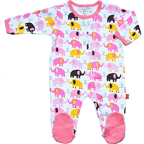 Free Magnificent Baby Footie Easy Magnet Close Elephant Girls Footed Sleeper Pajamas