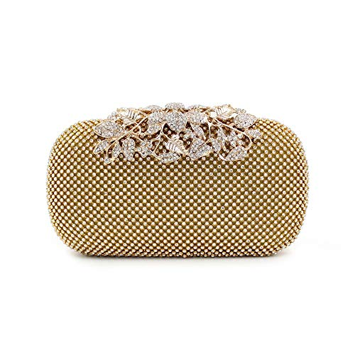 Borsa Handle nero Elegante diagonale Bag tracolla Womens Dinner Flower Oro Leaf Melodycp colore a Women Imitation Evening Diamonds 0wOq6av