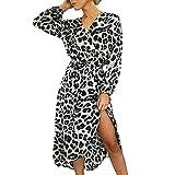 Women Leopard Print Split Dress,Mosunx Ladies Casual Long Sleeve Lace Up V-Neck Dresses (M, Gray)