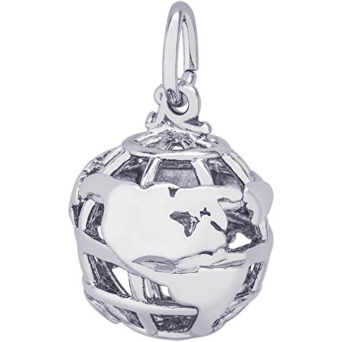 (Rembrandt Sterling Silver Globe 3D Charm on a Sterling Silver Rope Chain Necklace, 20