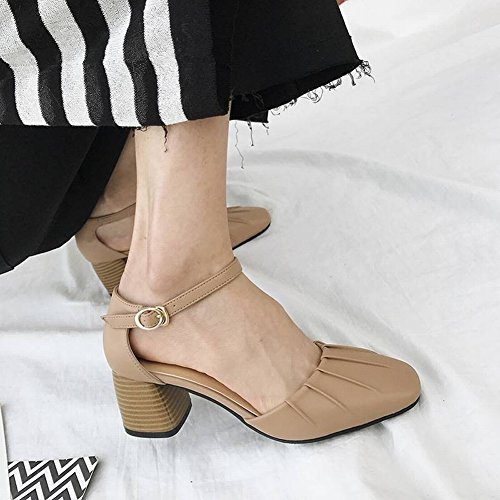 TYERY Zapatos Baotou Boca Baja Simple Femenino Redondo Grueso con Zapatos de Mujer, Rosado, 35