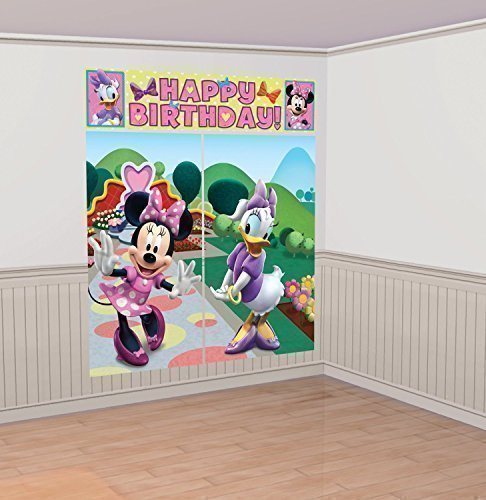 Disney Decorations Wall (Disney Minnie Mouse Scene Setter Wall Decorations Kit - Kids Birthday and Party Supplies)