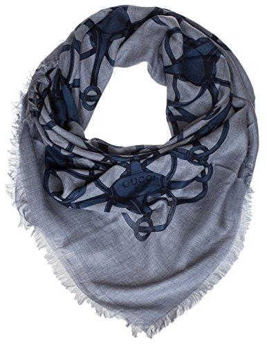 Gucci Periwinkle Blue Wool Blend Horsebit Print Square Shawl Scarf