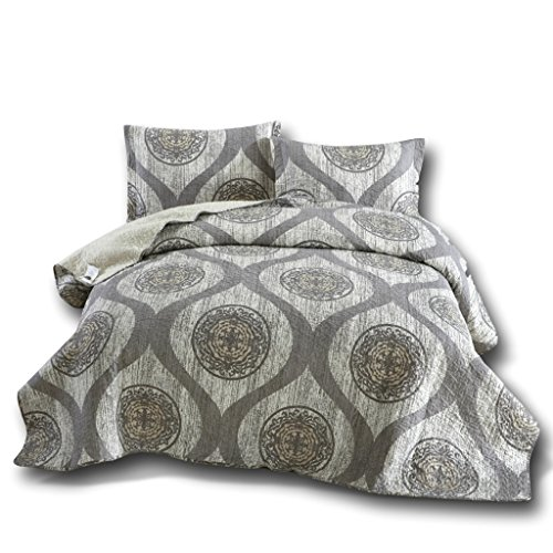 DaDa Bedding Medallion Bedspread Set - Mosaic Classical Reversible Quilted Coverlet - Cool Toned Multi Charcoal Grey - Cal King - 3-Pieces (Bed Mosaic King)