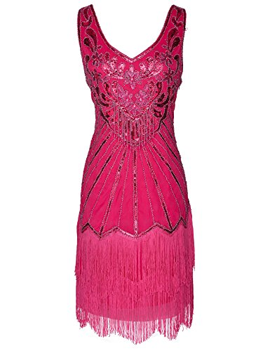 Women's Flapper Dress 1920s V Neck Beaded Fringed Great Gatsby Dress (Rose Red, XXL)
