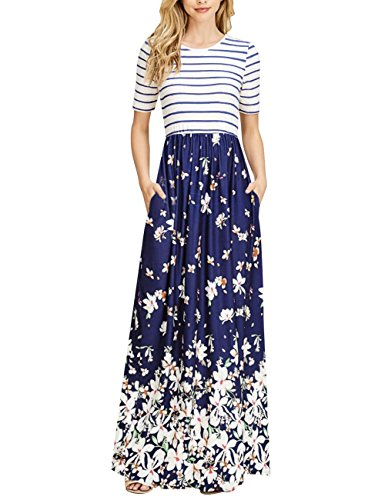 MEROKEETY Women's Striped Short Sleeve Floral Print Summer High Waist Pockets Maxi Dress