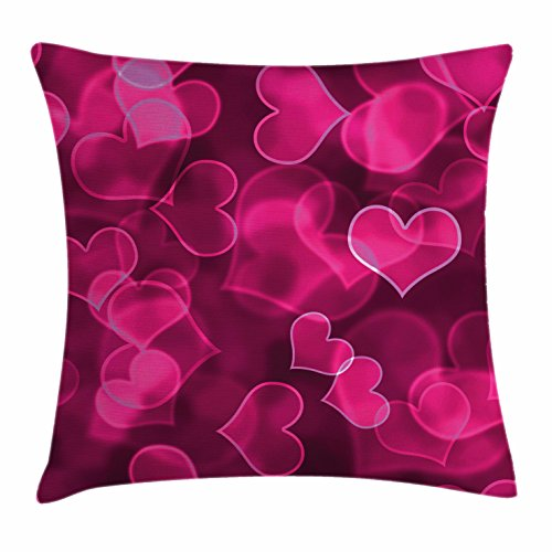 Ambesonne Hot Pink Throw Pillow Cushion Cover, Cute Sweet Heart Shapes on Blurry Background Romantic Love Valentine's Day, Decorative Square Accent Pillow Case, 16 X 16 inches, Magenta Hot Pink