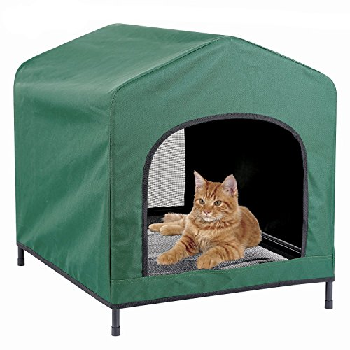 (Kleeger Premium Canopy Pet House Retreat - Waterproof Indoor & Outdoor Shelter - Suitable for Cats & Small Dogs - Lightweight, Portable & Comfortable - Breathable Mesh Floor)