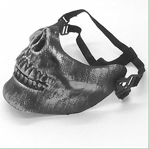 [Oidon Skeleton Skull Bone Airsoft Full Cover Face Sport Protector Mask (Antique Silver)] (Halloween Skeleton Mask)