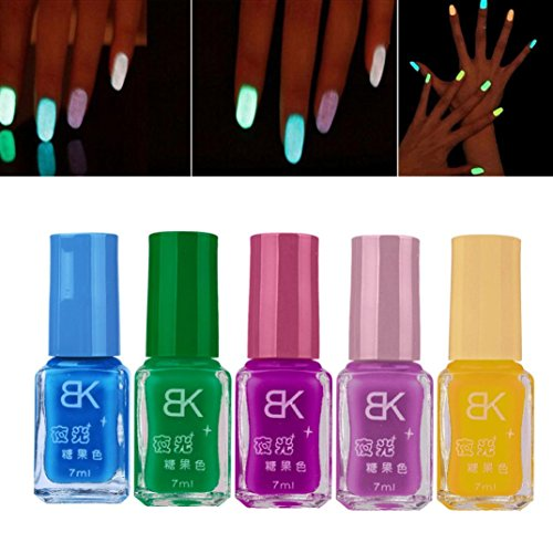 (LtrottedJ 5 PCS Candy Fluorescent Neon Luminous Gel Nail Polish,for Glow in Dark)