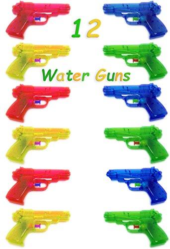 4E's Novelty Set of 12 Neon Plastic Squirt Super Soaker Water Gun Assortment 6.5
