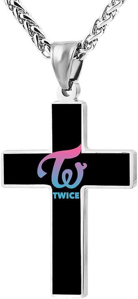 BlingDi Fashion Design Twice Kpop Logo Zinc Alloy Religious Cross Pendant Necklace