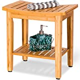 New Bamboo Shower Seat Bench Bathroom Spa Bath Organizer Stool w/Storage Shelf 18'' Natural colour