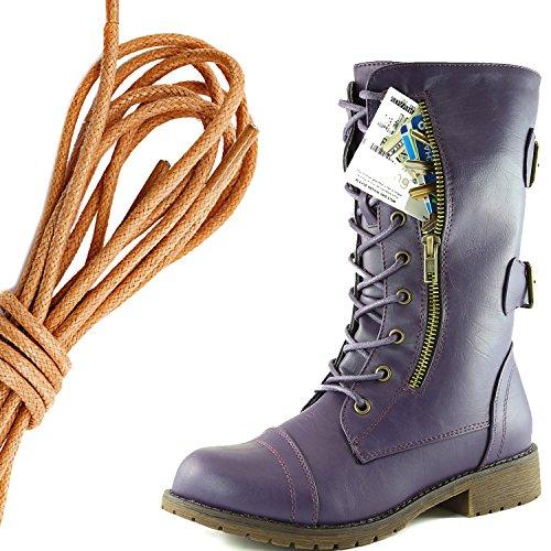 Dailyshoes Womens Militaire Lace Up Boucle Bottes De Combat Mi Genou Haute Carte De Crédit Exclusive Poche, Tan Doux Violet