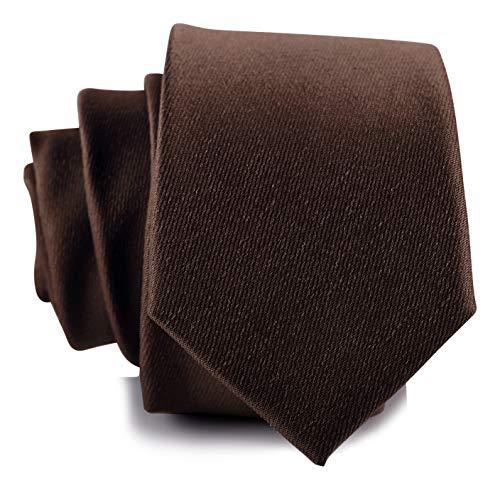 Fly & Dapper Handmade Solid Brown Men's Necktie   2.5