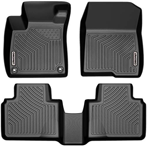 oEdRo Floor Mats Compatible with 2018-2020 Honda Accord, Black TPE Front & 2nd Row All Weather Liner Set -Custom Fit