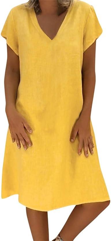 Vestido Verano Mujer, Lunule Vestido de Playa Mujer Vestido de algodón Camiseta Largo Casual Vestido de señoras: Amazon.es: Ropa y accesorios