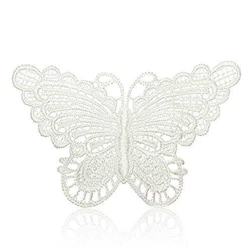 New 10Pcs Beautiful White Venice Lace Applique Butterfly Sewing Trims Diy Wedding Handmade Craft Garment Accessories^White.