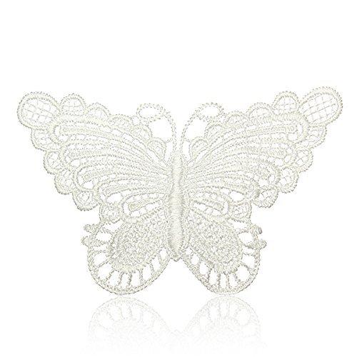 New 10Pcs Beautiful White Venice Lace Applique Butterfly Sewing Trims Diy Wedding Handmade Craft Garment - Acorn Applique