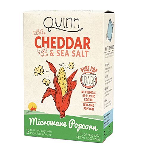 Quinn Snacks Microwave Popcorn - Made with Organic Non-GMO Corn - Great Snack Food for Movie Night {White Cheddar, 1 Box}