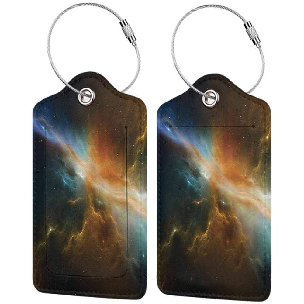 Durable luggage tag Outer Space Decor Collection Astronomy Celestial Meteorite Supernova Dark Mysterious Space Picture Unisex Dark Turquoise Yellow W2.7 x L4.6