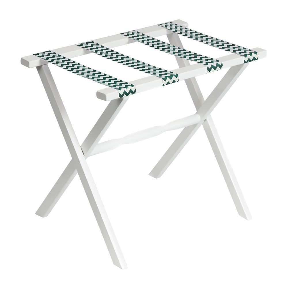 Gate House Furniture Straight Leg Chevron Series Wood Luggage Rack, White/Hunter Green