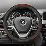 FH Group FH2002RED Steering Wheel Cover (Deluxe Full Grain Authentic Leather Red)