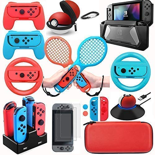 (Accessories Kit for Nintendo Switch - Game Controller,Bundle with Carrying Travel Case,Screen Protector Cover,Joy Con Caps,Steering Wheel Grip,Charging Dock Charger,Protective Tempered Glass 22 in)