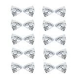 SeasonsTrading Pack of 10 Silver Sequin Bow Ties ~ Fun Costume Party Accessory