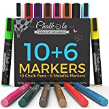 Chalkola Chalk Markers & Metallic Colors - Pack of 16 chalk pen - For Chalkboard, Whiteboard, Blackboard, Window, Glass, Bistro - 6mm Reversible bullet & chisel Tip with 8 gram liquid erasable ink