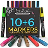 Chalkola Chalk Markers & Metallic Colors - Pack of 16 chalk pens - For Chalkboard, Whiteboard, Blackboard, Window, Glass, Bistro - 6mm Reversible bullet & chisel Tip with 8 gram erasable ink