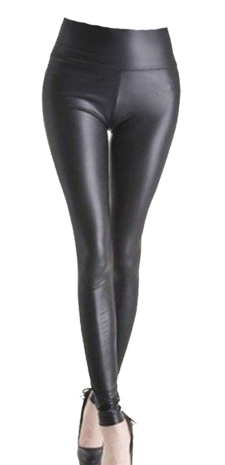 RIDDLED WITH STYLE Womens Wetlook PVC Strechy Elasticated Plain Legging Ladies Pant