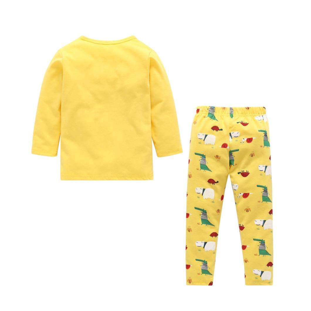 Suma-ma Kids Baby Boy Girl 2-Piece Dinosaur Print Tops+Pants Pajama Outfits