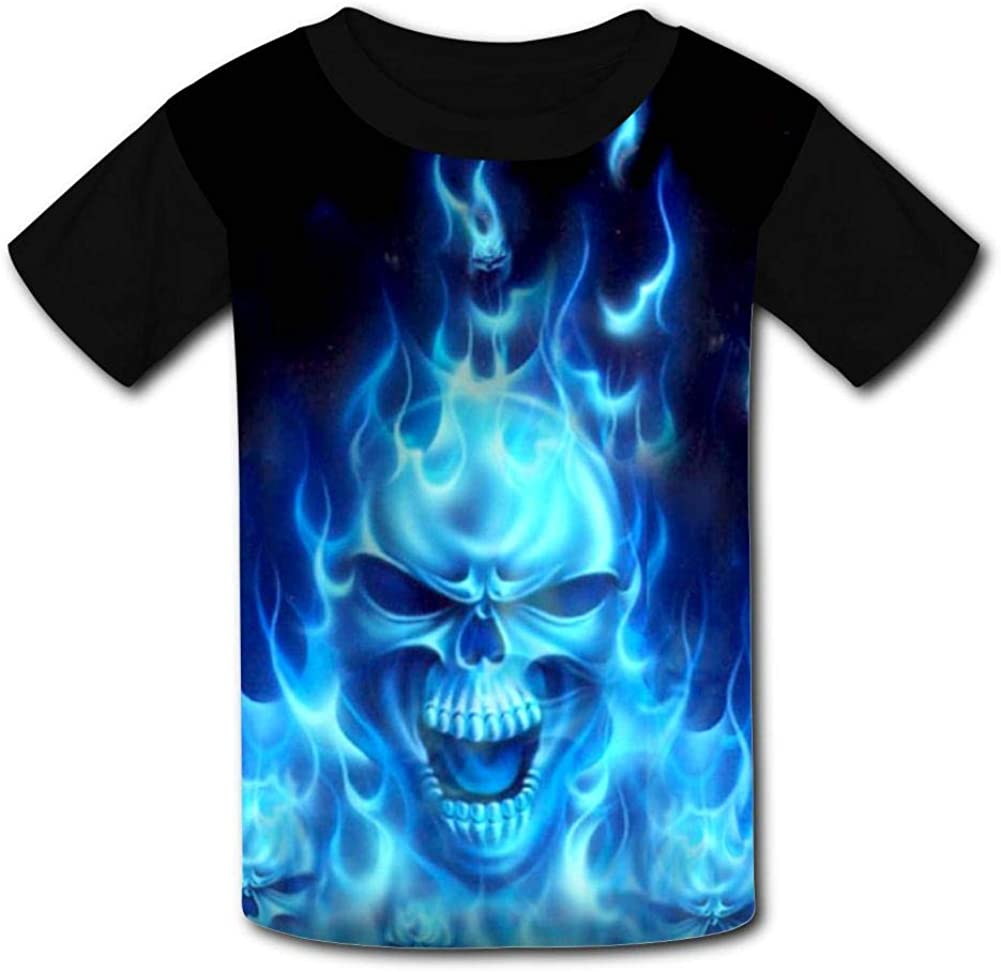 Youth 3D Printed Creative Blue Fire Skull Casual T-Shirt Short Sleeve for Kids Creative Graphic Design Summer Tee