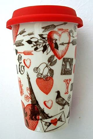 Love You Paris Eiffel Tower Ceramic Travel Eco Mug (Eiffel Tower Dvd Tower)
