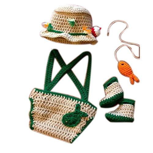 Mutong Newborn Photography Props Baby Photo Outfits Crochet Kintted Fisherman Set