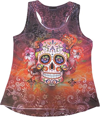 Sweet Gisele Woman Sugar Skull Racerback Muscle Tank TopTee | Beautiful Print Decorated with Sparkling Bling Rhinestones