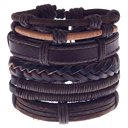 Woven Urn - GDJGTA Bracelet Bangles Women Men Unique creativity Simple Vintage Woven Leather Bracelet Alloy Guitar Leather Bracelet Set