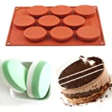 AYAMAYA 100% Food-Grade 9 Cavity Silicone Cake Mold Oval Baking Pan Biscuit Mold Soap Mold