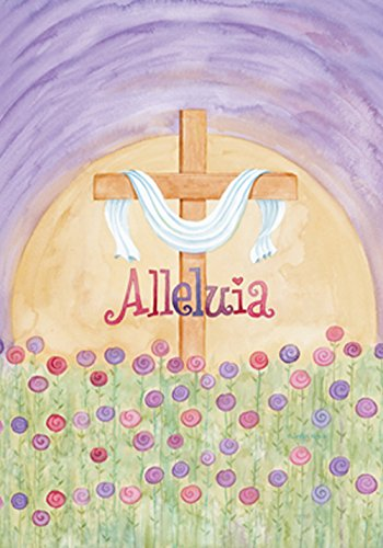 Toland Home Garden Alleluia 28 x 40 Inch Decorative Pastel Flower Easter Holiday Jesus Cross House - Easter Cross Flag