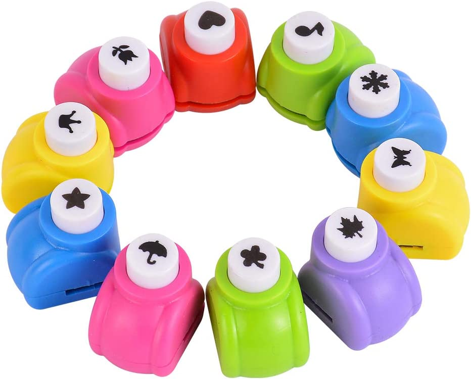 10PCS Shape Paper Hole Punches Set DIY Art /& Craft Embossing Devices with 10P...
