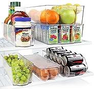 Greenco GRC0250 - Cajas organizadoras apilables para refrigerador y congelador, 6 piezas, con asas, transparentes